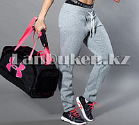 Сумка спортивная дорожная с боковыми карманами и с плечевыми ремнями черно-розовая 47*30*25 см (#6069)
