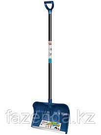 Лопата снеговая ЛАМБАДА синяя с черенком