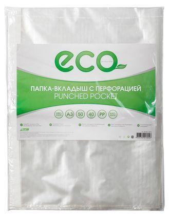 """Файл-вкладыш """"Hatber Eco"""", А3, 40мкм, перфорация, тиснение, 50 штук в упаковке"""