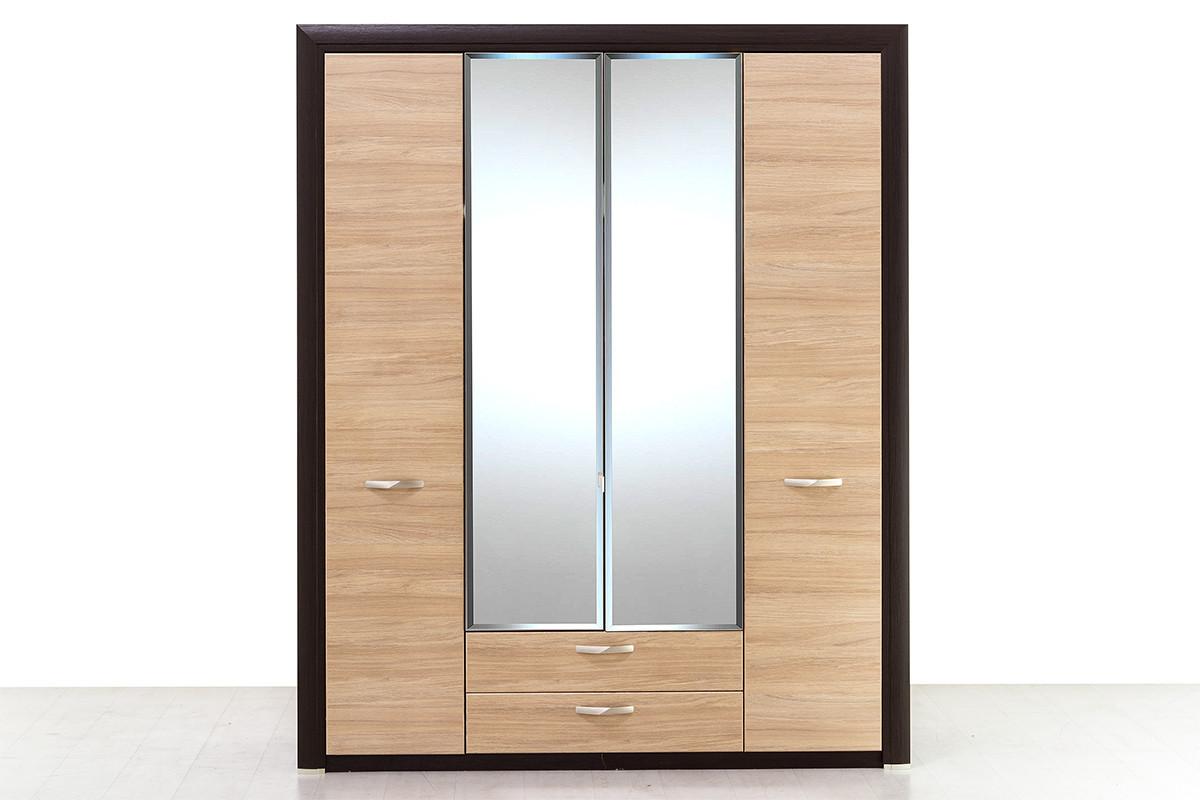 Шкаф для одежды 4Д (Denver 4D2S Z), коллекции Денвер, Дуб Янтарный, Анрэкс (Беларусь)