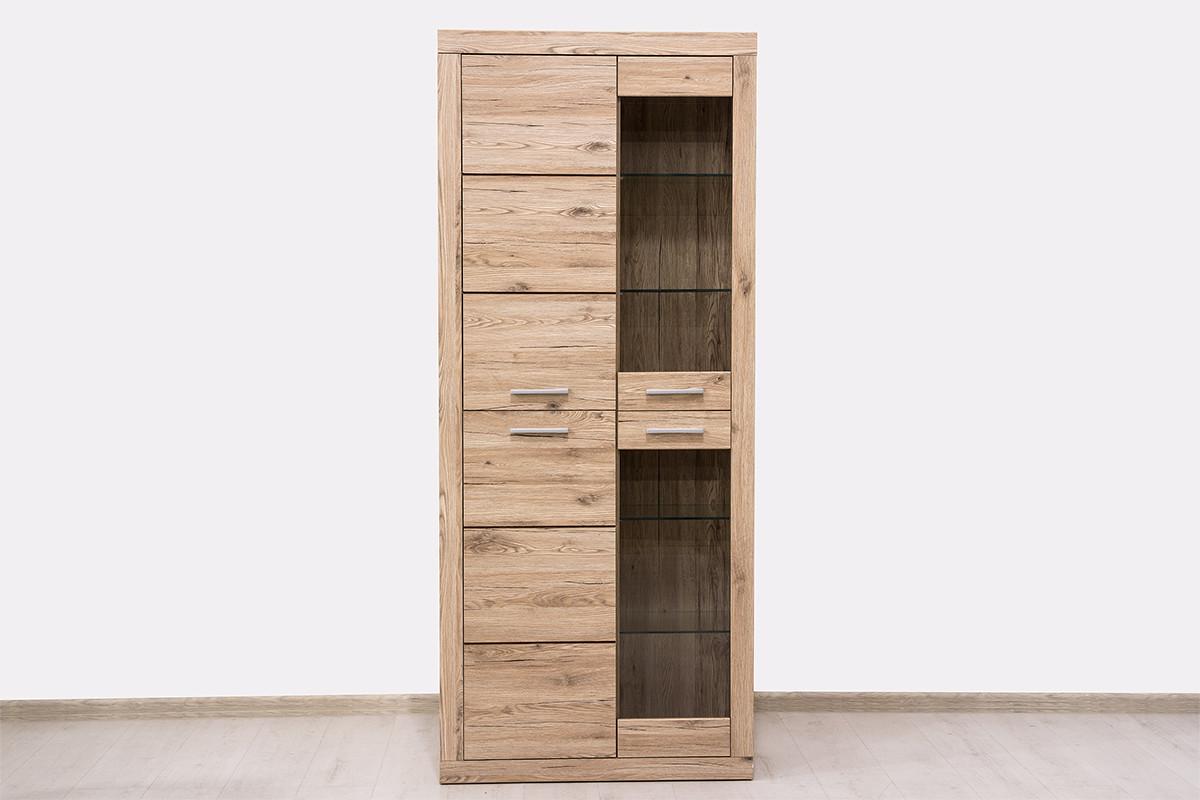 Шкаф витрина 4Д  (Oskar 2V2D), коллекции Оскар, Дуб Санремо, Анрэкс (Беларусь)