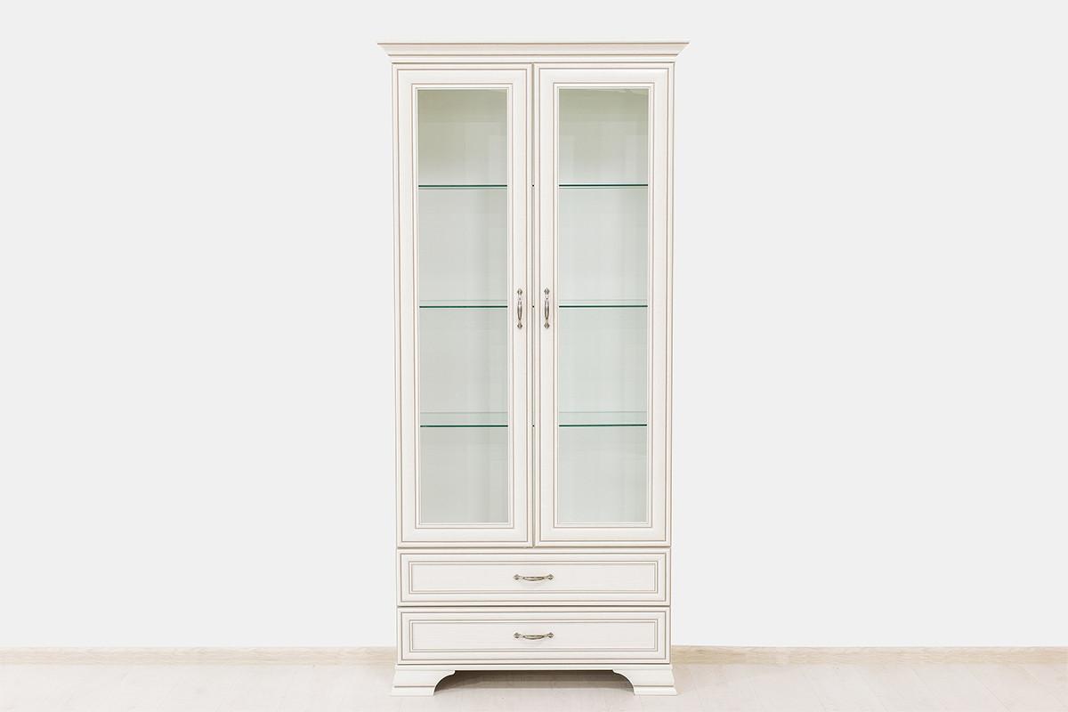 Шкаф витрина 2Д (Tiffany 2V2S), коллекции Тиффани, Вудлайн Кремовый, Анрэкс (Беларусь)