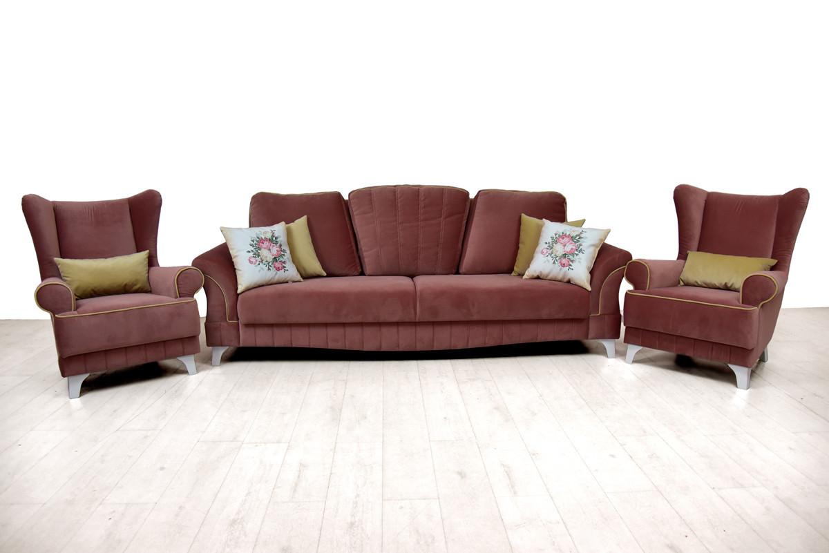Комплект мягкой мебели Каролина, Серо/Розовый, Нижегородмебель и К(Россия)