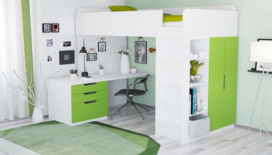 Кровать-чердак Polini Simple с письменным столом и шкафом, белый-лайм