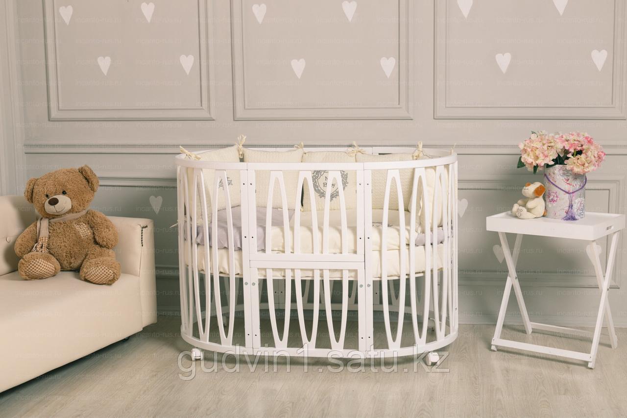 Кровать INCANTO ESTEL ACQUA 10 в 1,поперечный маятник, цвет белый 00-92154