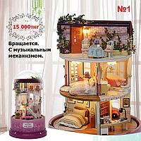 """Кукольный сувенирный домик """"Вращающаяся музыкальная фантазия"""" в миниатюре (собери сам)"""