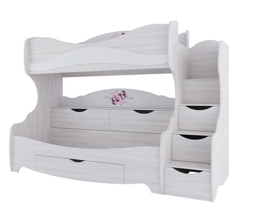 Кровать двухъярусная, модульной системы Акварель 1, Белый Матовый, СВ Мебель (Россия)