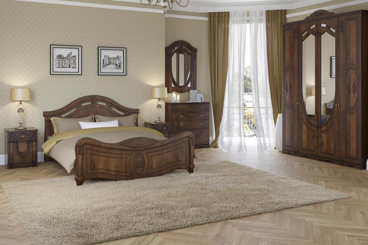 Кровать двуспальная как часть комплекта Александрина, Орех, Империал (Россия)