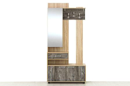 Визит 1, Вешалка с зеркалом Левая, Дуб сонома/Сосна джексон, СВ Мебель, фото 2