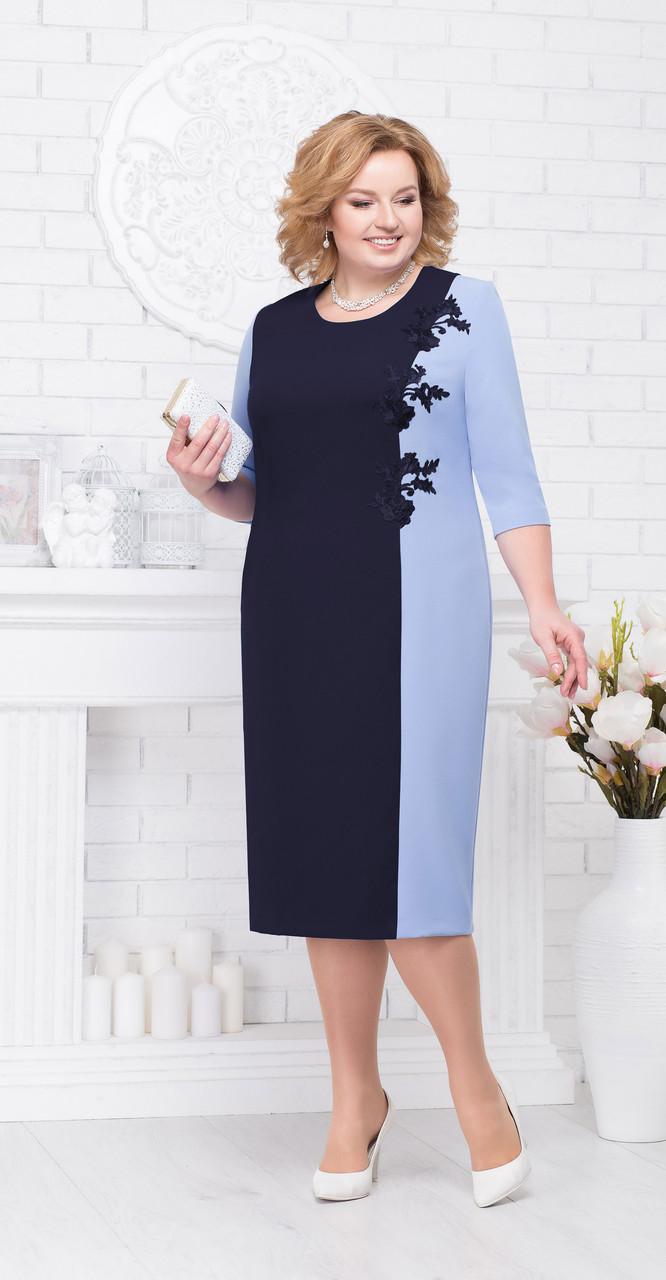 Платье Ninele-2194, синий+голубой, 56