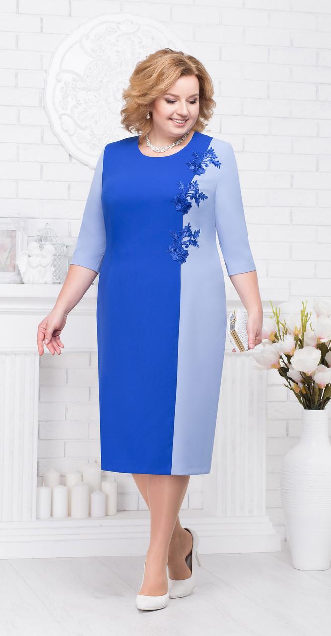 Платье Ninele-2194/1, василек+голубой, 56