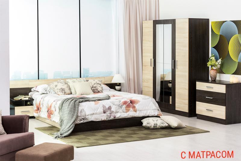 Уют 1 - Комплект для спальни с матрасом, Кантербери/Сонома, Горизонт