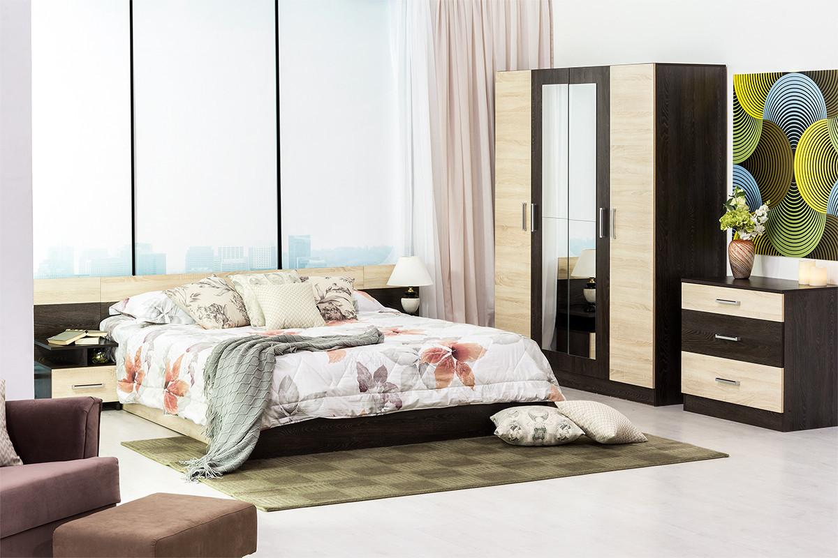 Шкаф для одежды 4Д как часть комплекта Уют 1, Дуб Сонома, Горизонт (Россия)