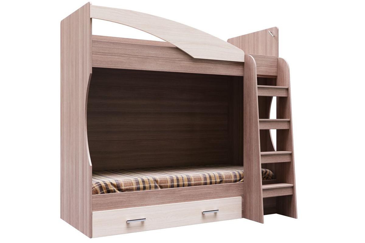 Кровать двухъярусная, модульной системы Город, Ясень Шимо темный, СВ Мебель (Россия)