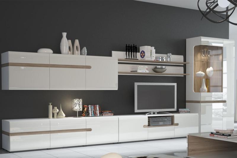 Линате - Комплект для гостиной 5880, Белый/Дуб трюфель, Анрэкс