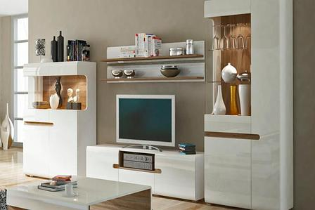 Линате 2 - Комплект для гостиной, Белый/Дуб трюфель, Анрэкс, фото 2