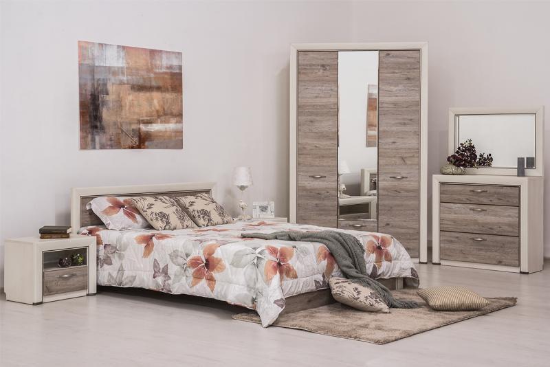 Оливия - Комплект для спальни 1795, 3D, вудлайн кремовый/дуб анкона, Анрэкс