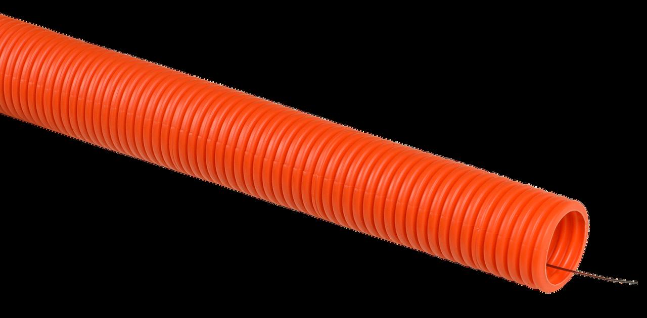 Труба гофр. ПНД d40 с зондом оранжевая тяжелая (15м) IEK