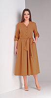 Платье Диамант-1407/2, бежевые тона, 52