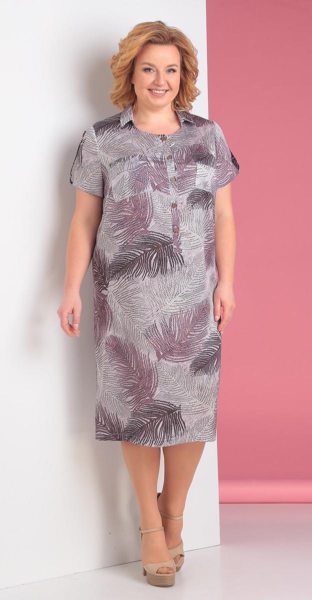 Платье Novella Sharm-3225-3, сиреневый+перья, 66