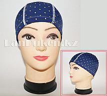 Детская шапочка тканевая для плавания (синяя с сердечками)