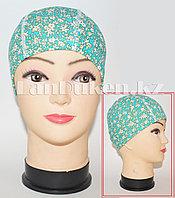 Детская шапочка тканевая для плавания (голубой с цветочным принтом)