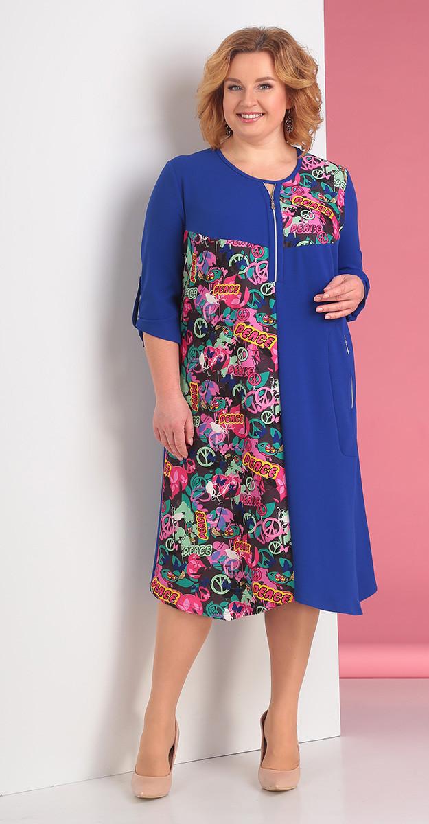Платье Novella Sharm-3230, василек с цветным, 62