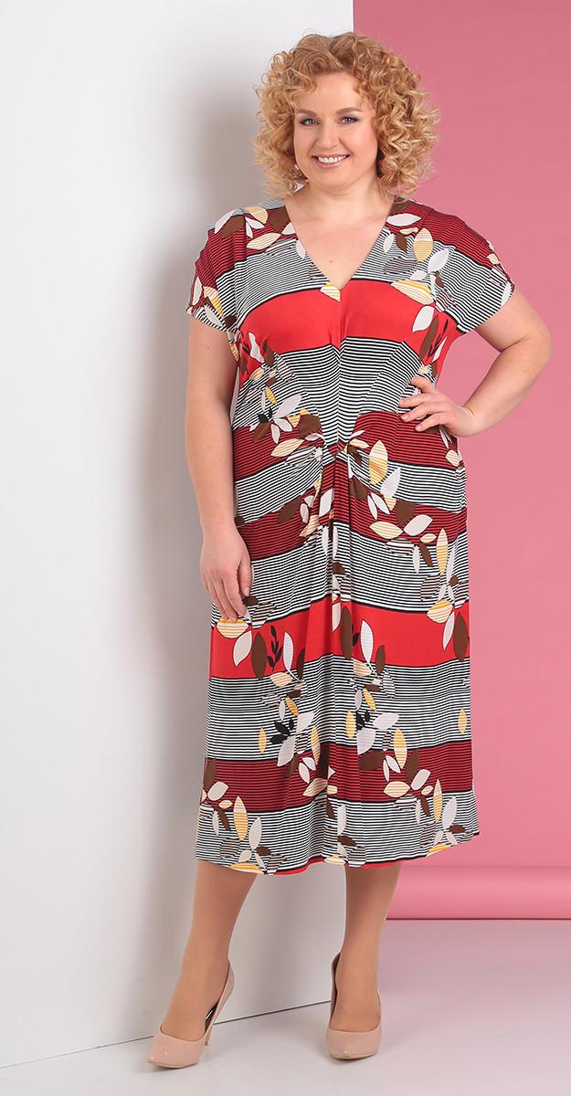 Платье Novella Sharm-3249, красно-бордовые тона+серый, 60