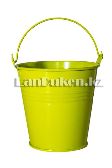Ведро декоративное металлическое (зеленое) - фото 3