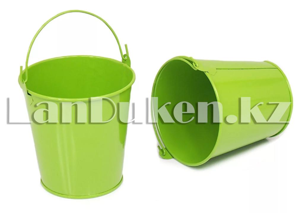 Ведро декоративное металлическое (зеленое) - фото 5