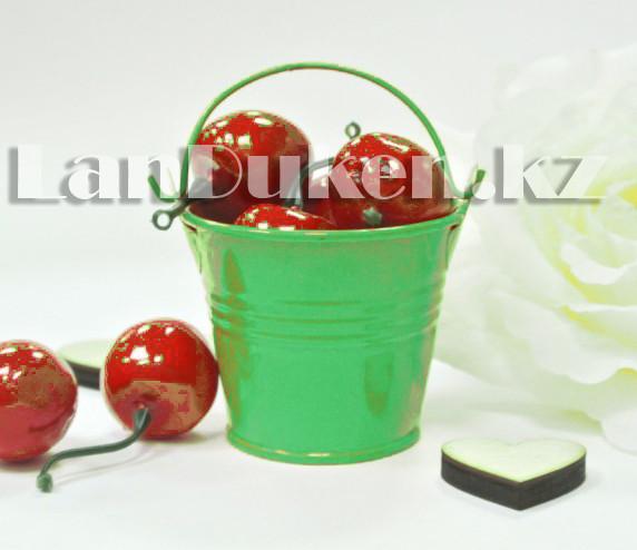 Ведро декоративное металлическое (зеленое) - фото 2
