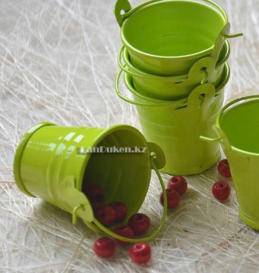 Ведро декоративное металлическое (зеленое) - фото 4