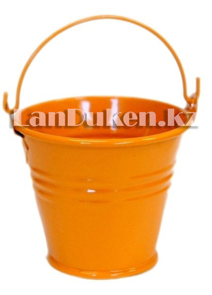 Ведро декоративное металлическое (оранжевое) - фото 4