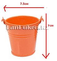 Ведро декоративное металлическое (оранжевое)