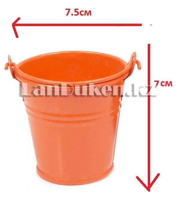 Ведро декоративное металлическое (оранжевое) - фото 1