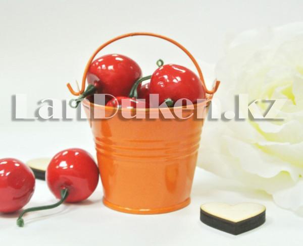 Ведро декоративное металлическое (оранжевое) - фото 2