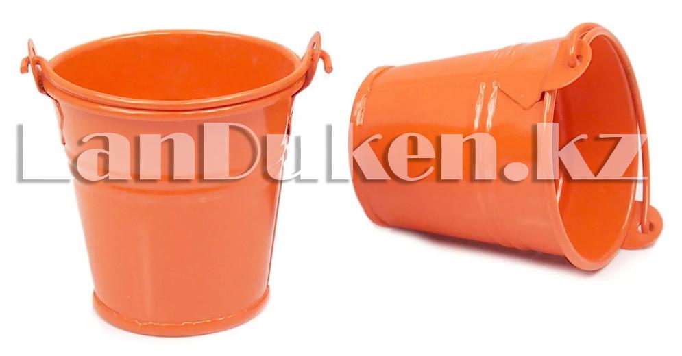 Ведро декоративное металлическое (оранжевое) - фото 3