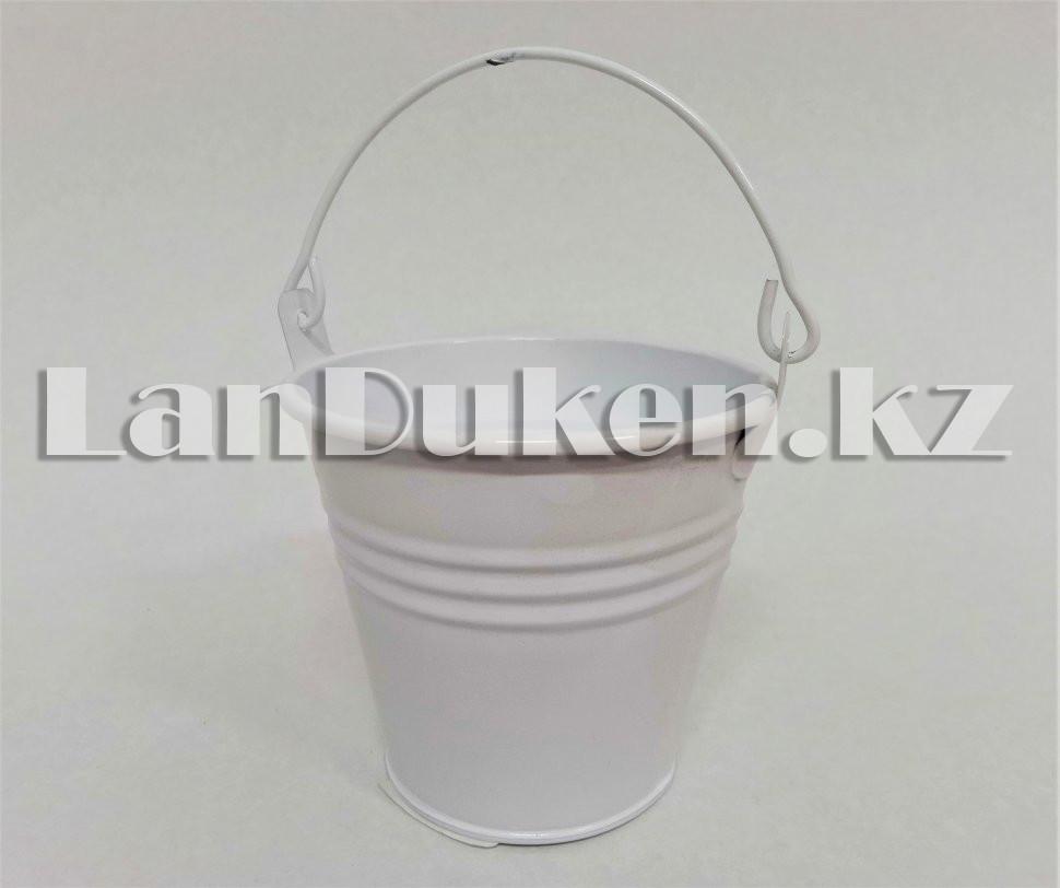 Ведро декоративное металлическое (белое) - фото 4