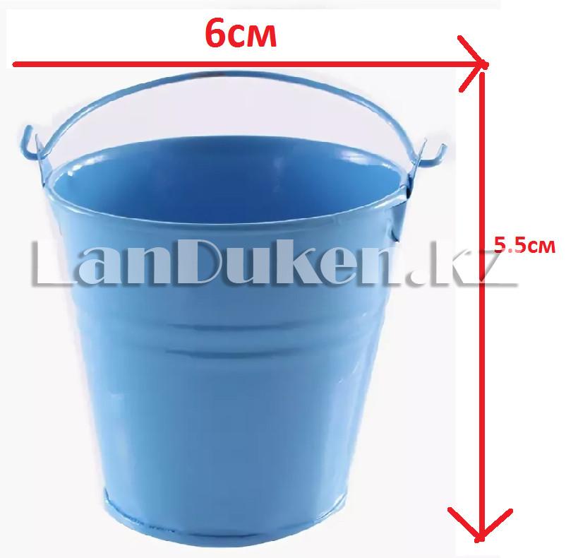 Ведро декоративное металлическое (голубое) - фото 1
