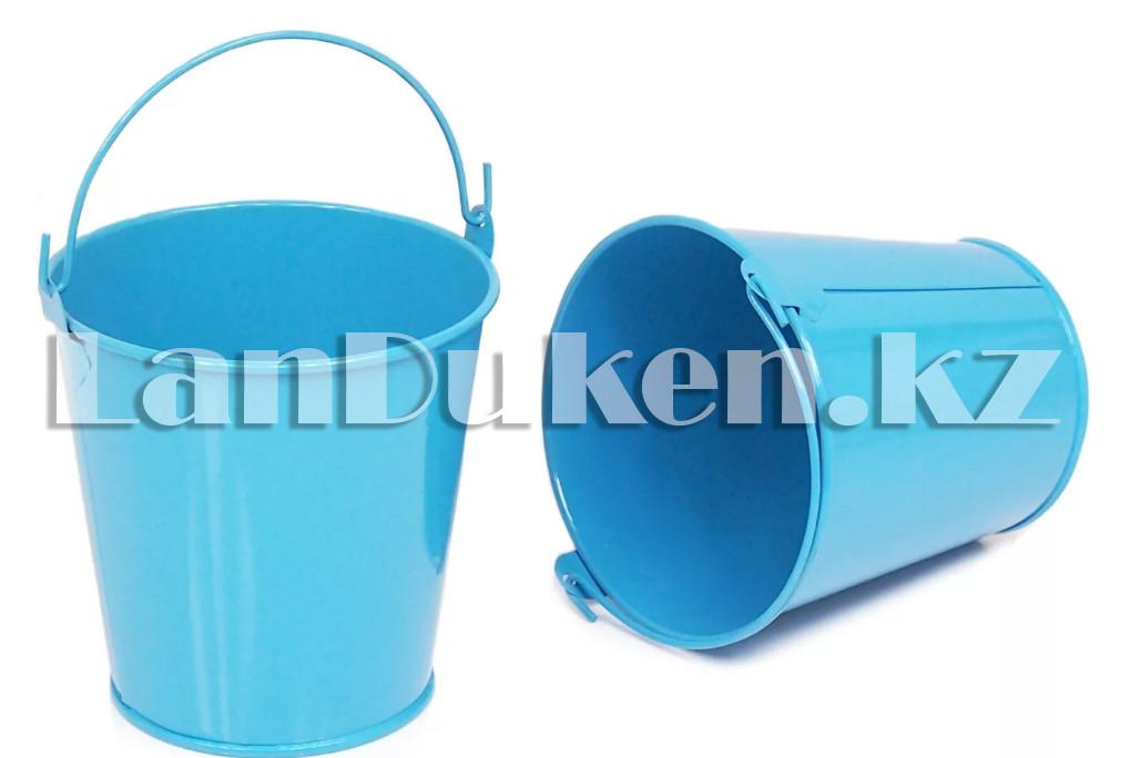 Ведро декоративное металлическое (голубое) - фото 2