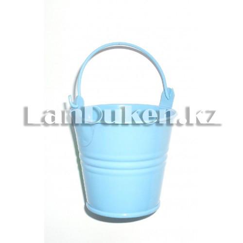 Ведро декоративное металлическое (голубое) - фото 4