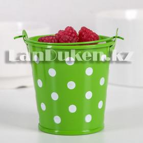 Ведро декоративное металлическое (зеленое в горошек) - фото 2