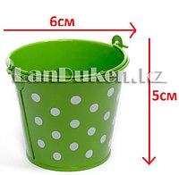Ведро декоративное металлическое (зеленое в горошек)