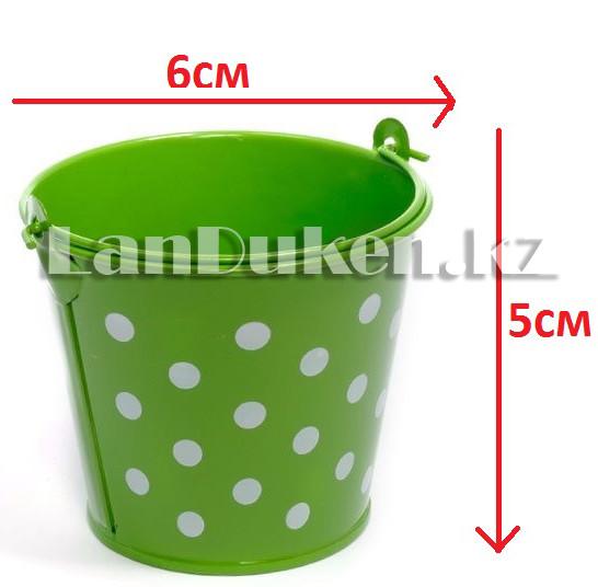 Ведро декоративное металлическое (зеленое в горошек) - фото 1