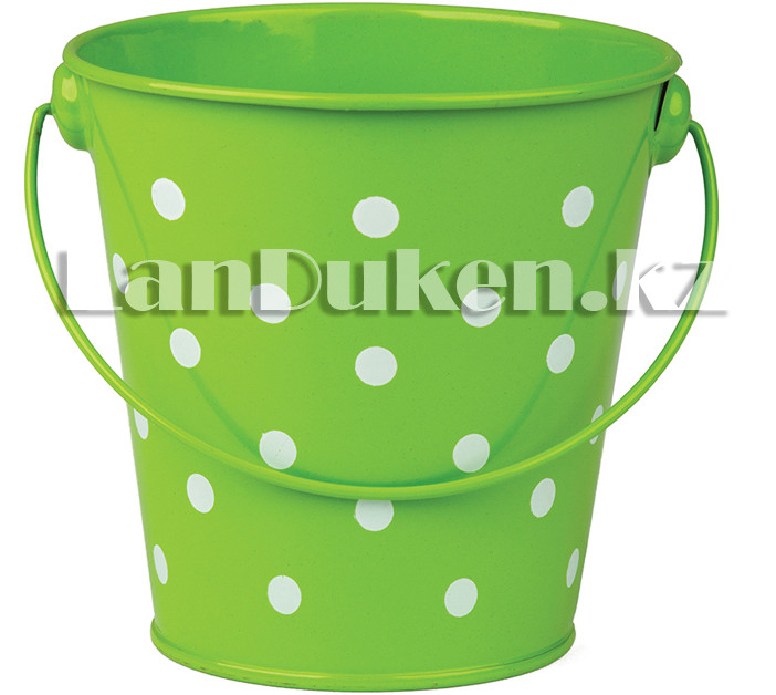 Ведро декоративное металлическое (зеленое в горошек) - фото 3