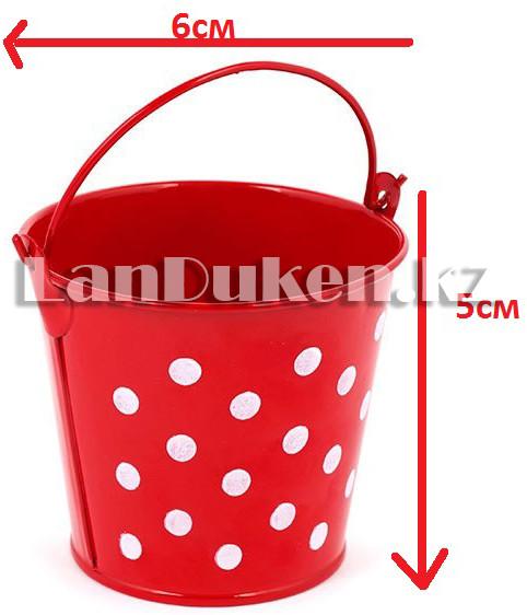 Ведро декоративное металлическое (красное в горошек) - фото 1