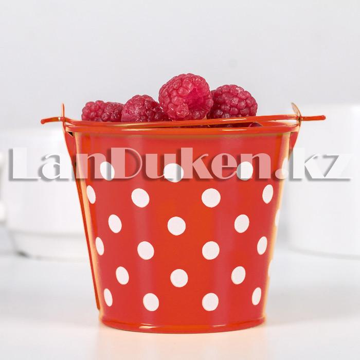 Ведро декоративное металлическое (красное в горошек) - фото 2