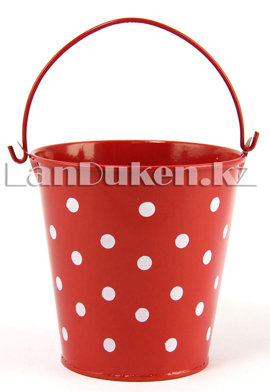Ведро декоративное металлическое (красное в горошек) - фото 3