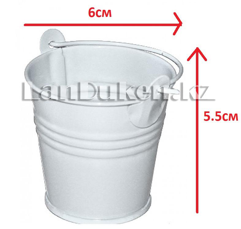 Ведро декоративное металлическое (белое) - фото 1