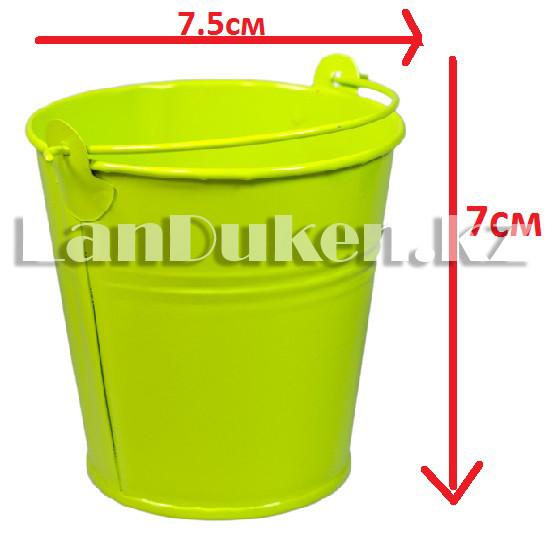 Ведро декоративное металлическое (зеленое) - фото 1